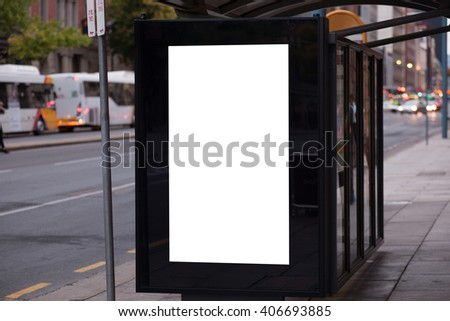 Blank outdoor advertising bus stop shelter