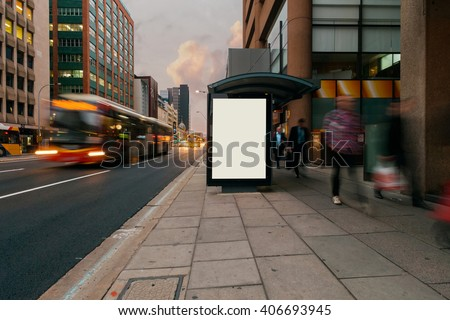 Blank outdoor advertising bus stop shelter  - stock photo