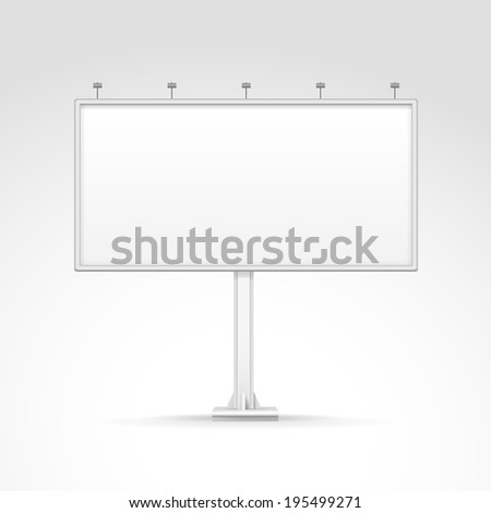 Blank Outdoor Billboard with Place for Message and with Lighting Isolated on Background - stock photo