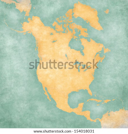Blank outline map of North America. The Map is in vintage summer style and sunny mood. The map has a soft grunge and vintage atmosphere, which acts as a painted watercolors.  - stock photo