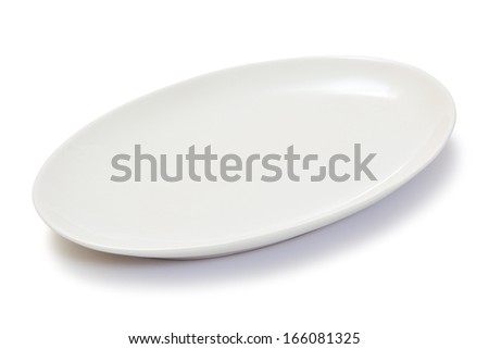 blank oval plate - stock photo