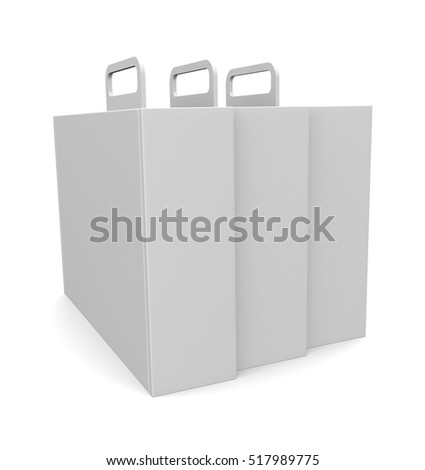 Blank package box with handle - isolated on white  background. 3D illustration