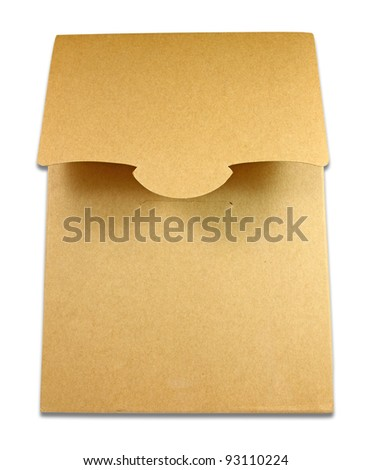 Blank package of brown box isolated on white background - stock photo
