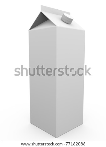 Blank package of liquids or milk. 3d ilustration.