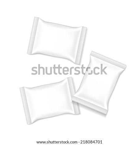 blank package set template isolated on white background