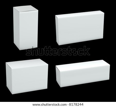 Blank packages isolated on black background - stock photo