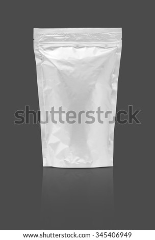 blank packaging aluminium foil pouch isolated on gray background - stock photo