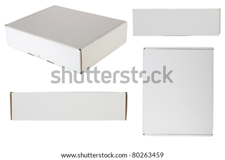 Blank packaging box, shot from every site, isolated over white background. Good for your design - stock photo
