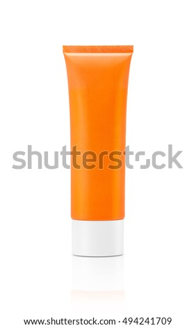 blank packaging cosmetic sunscreen tube isolated on white background