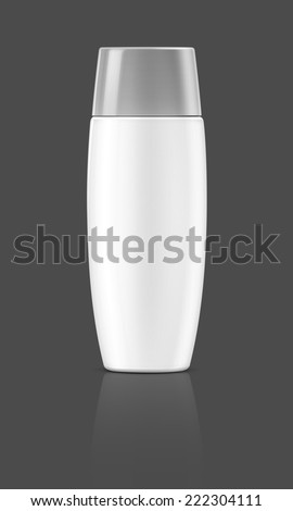 blank packaging cosmetic tube isolated on gray background - stock photo