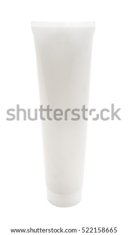 Blank packaging cosmetic tube isolated on white background, ready for package design.