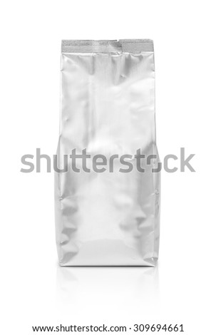 blank packaging foil pouch isolated on white background - stock photo