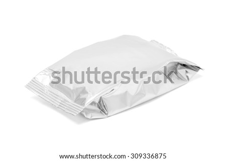 blank packaging foil snack pouch isolated on white background