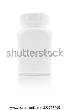 blank packaging medicine plastic bottle isolated on white background - stock photo