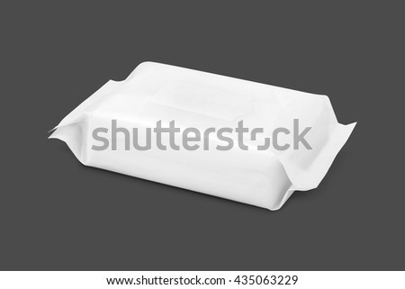 blank packaging paper wipes pouch isolated on gray background with clipping path - stock photo