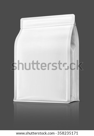 blank packaging pouch ready for product design, isolated on gray background with clipping path - stock photo