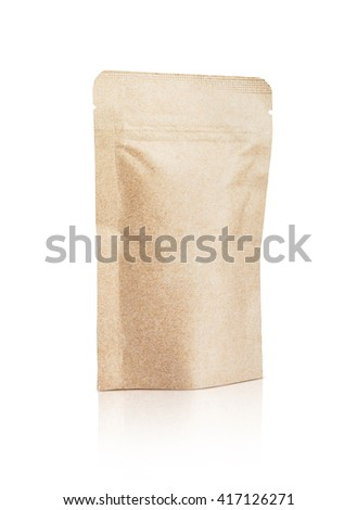 blank packaging recycled kraft paper pouch isolated on white background with clipping path - stock photo