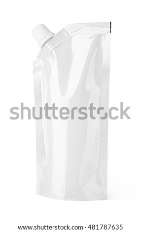 Blank packaging spout pouch doy-pack, doypack foil food or drink bag with cap isolated on white with clipping path
