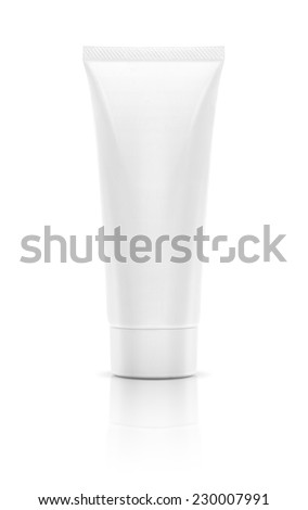Blank packaging white cosmetic tube isolated on white background