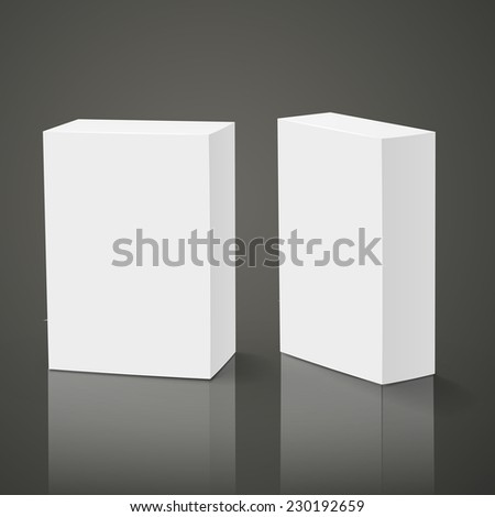 blank packing boxes isolated over black background - stock photo