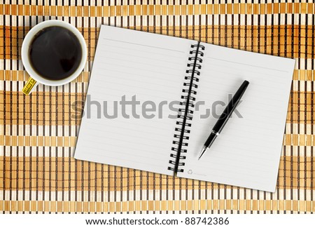 Blank Pad of Paper, Pen & Coffee - stock photo