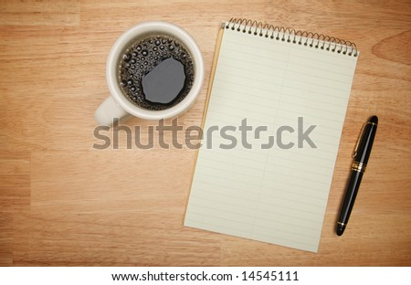 Blank Pad of Paper ready for your own text, Pen & Coffee - stock photo