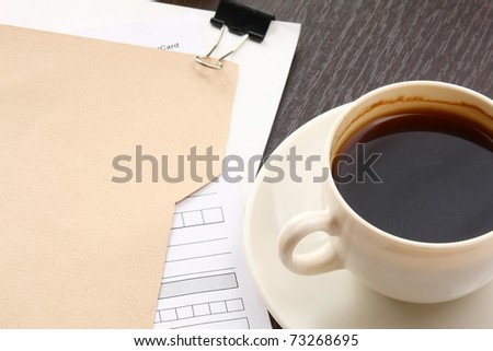 blank page, empty cup of coffee - stock photo