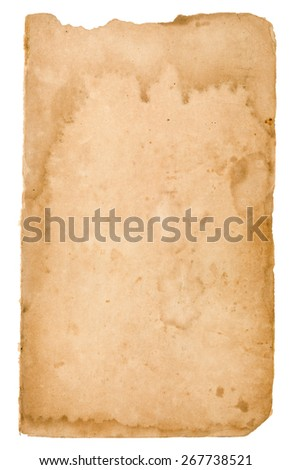 Blank Page From Very Old Book With Stains/ Aged Grunge Stained Paper Background - stock photo