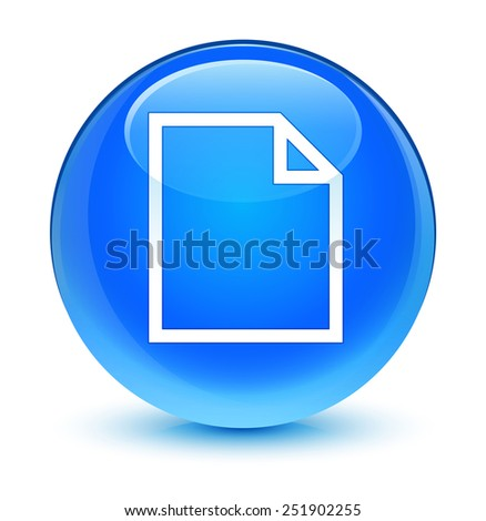 Blank page icon glassy blue button - stock photo