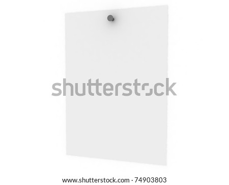 blank page nailed on white wall isolated