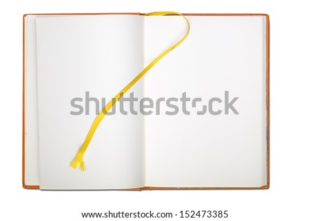 blank page  note book with book mark isolated on white. - stock photo