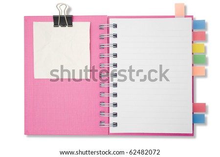 Blank page notebook and tag for separate2 - stock photo