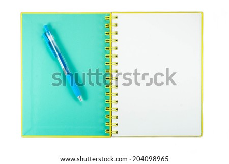 blank page notepad with pencil isolated in white background with clipping path - stock photo