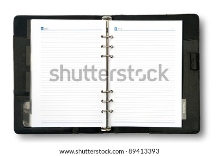 Blank page of note book on white isolate - stock photo