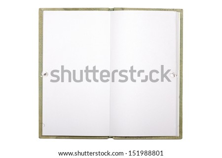 blank page of note book with  isolated on white. - stock photo