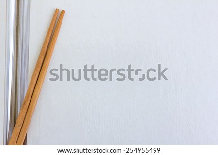 blank page of old book with chopstick - stock photo