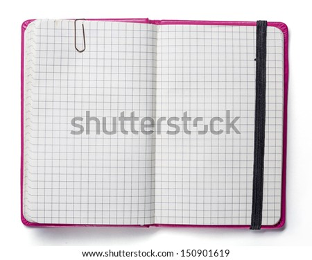 blank page of pink note book with paper clip and elastic strap isolated on white. - stock photo