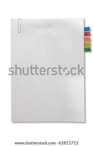 Blank page white paper with tag and clip for note something and attach at a door - stock photo