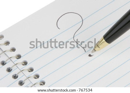 Blank page with a question mark suggesting lack of inspiration. - stock photo