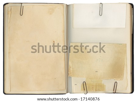 Blank pages in an antique book with copy-space for your own text. - stock photo