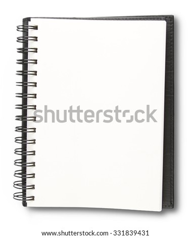 Blank pages in book on plain background