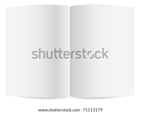 Blank pages inside of note book or journal - stock photo
