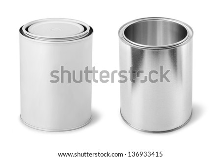 Blank paint cans metal dummy isolated on white - stock photo