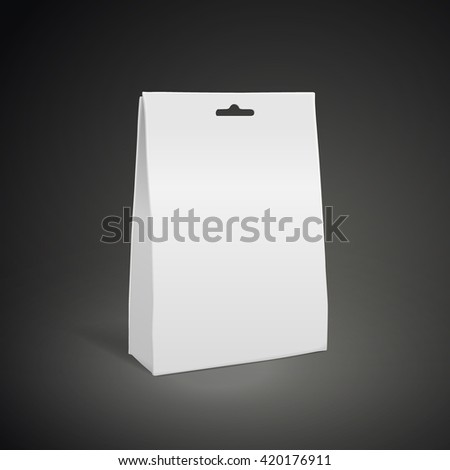 blank paper bag isolated on black background. 3D illustration.