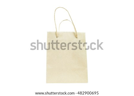 Blank paper bag isolated on white background.