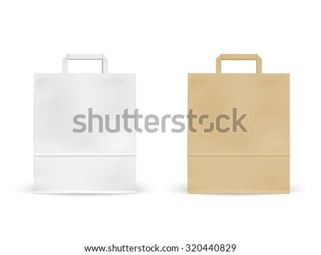 blank paper bags set isolated on white background - stock photo