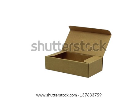 blank paper box isolated on white background