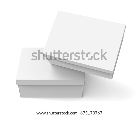 Blank paper box template two boxes stock illustration 675173767 blank paper box template two boxes mockup with lid in 3d rendering one floating maxwellsz