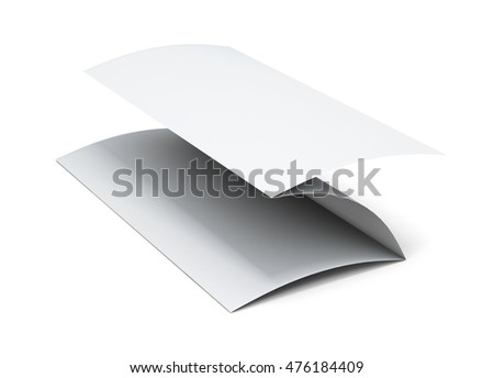 Blank paper brochure. 3d illustration on white background.