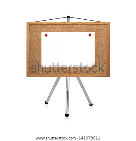 blank paper clip to cork board on tripod